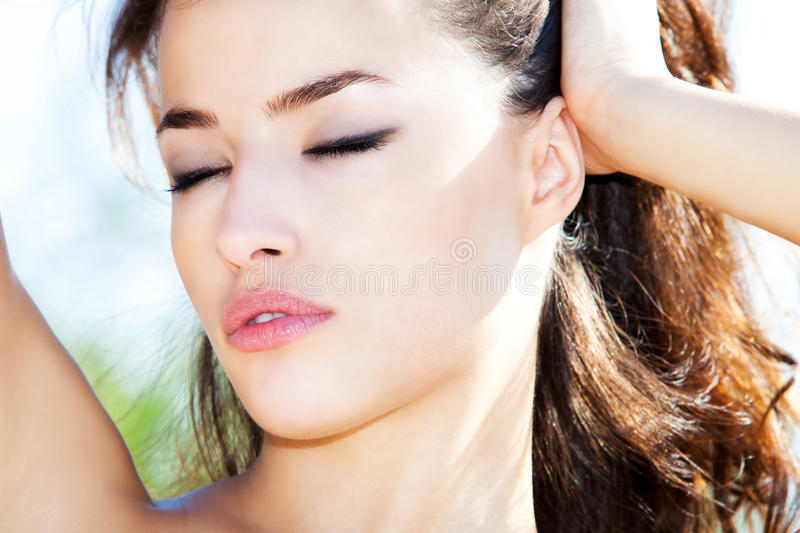 Woman outdoor portrait royalty free stock photography