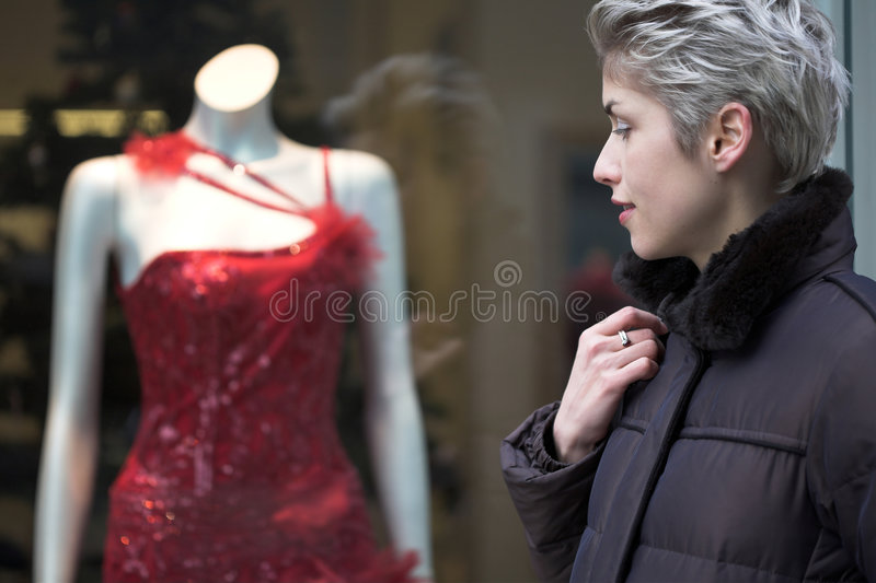 Woman outdoor shopping royalty free stock photo