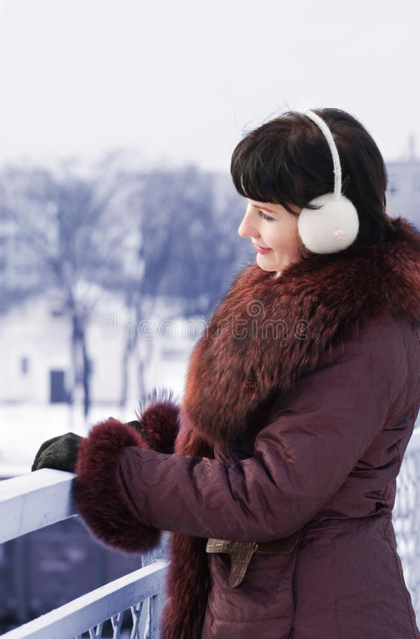 Woman Outdoor In Winter Stock Photography