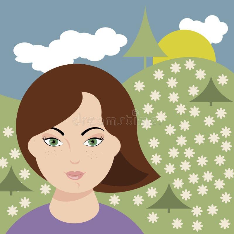 Woman outdoors stock illustration