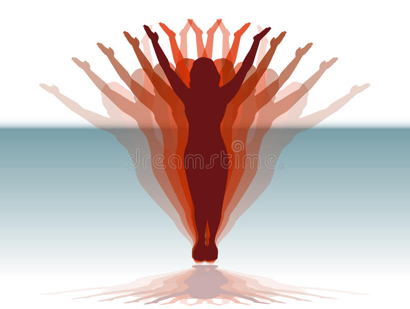Woman Outreaching vector illustration