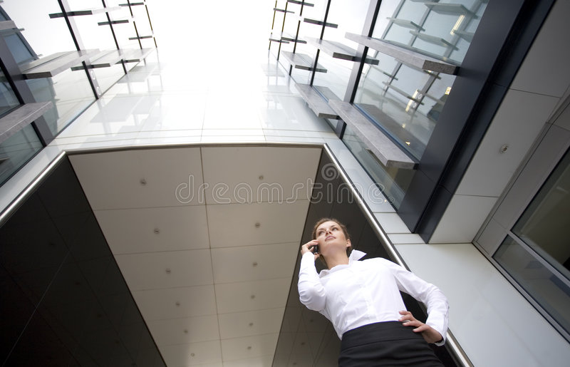 Woman Outside A Modern Building Stock Images