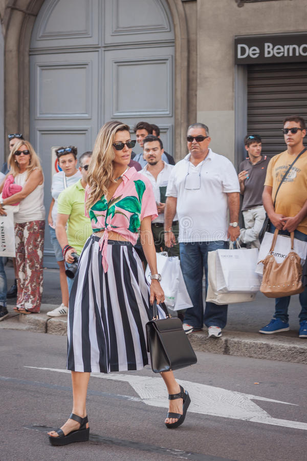 Free Woman Outside Trussardi Fashion Shows Building For Milan Women S Fashion Week 2014 Royalty Free Stock Image - 45270586