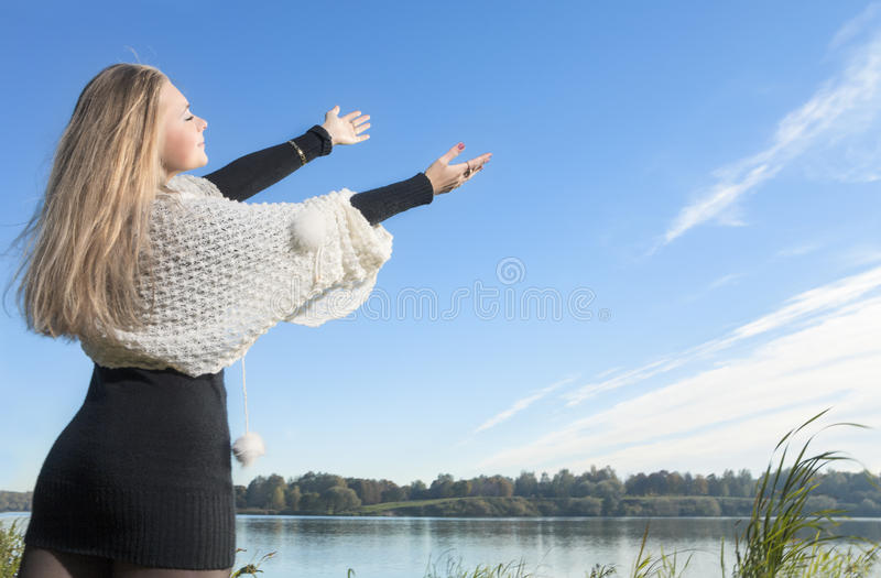 Woman With Outstretched Hands Royalty Free Stock Photos