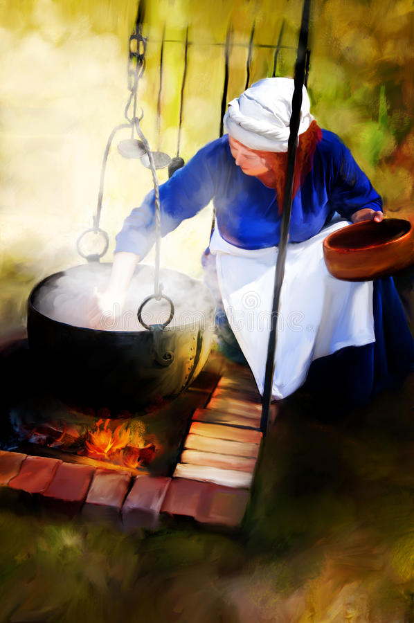 Woman over campfire. A digital painting of a red haired woman over a black kettle and a small fire. Concept for women working in past days