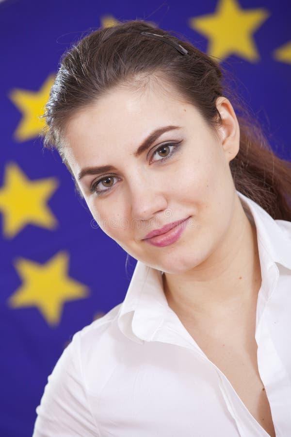 Woman over european union flag