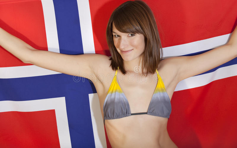 Download Woman over norwegian flag stock photo. Image of competition - 12532348