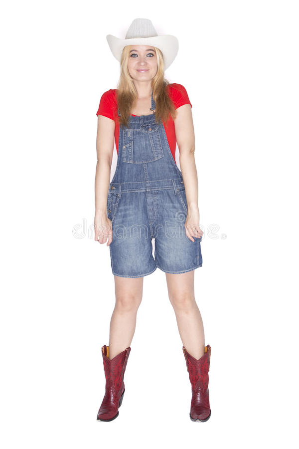 Woman in overalls royalty free stock photos