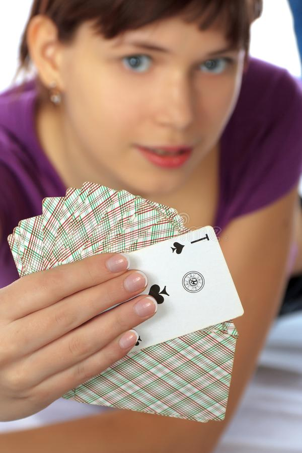 Download Woman With Pack Playing Cards Stock Image - Image: 13186753