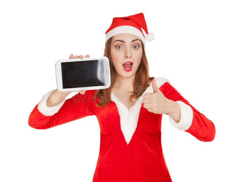 Woman with pad. Christmas shopping. stock photo