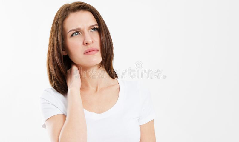 Woman with pain in her neck - Isolated medical shot over white background royalty free stock photo