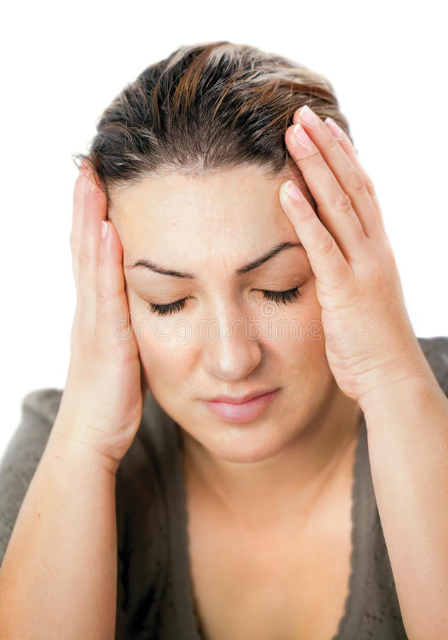 Woman in pain royalty free stock photo