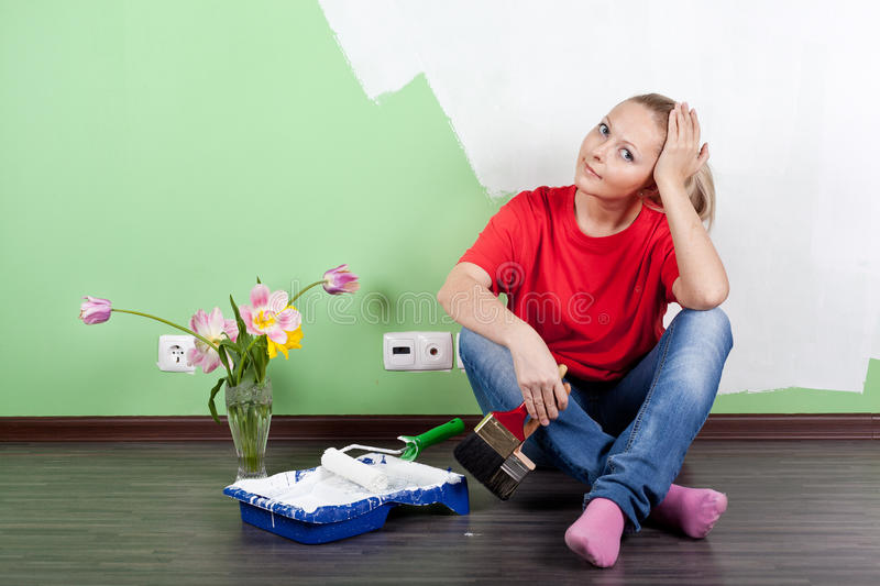 Woman With Paint Brushes Royalty Free Stock Photo