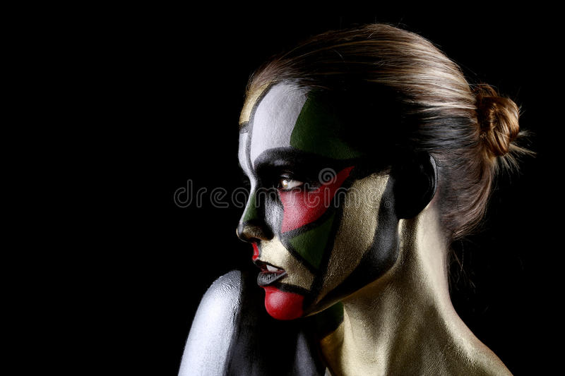 Woman Painted Like Stained Glass Window Beauty Concept. Beautiful Woman Painted Like Stained Glass Window Beauty Concept stock images