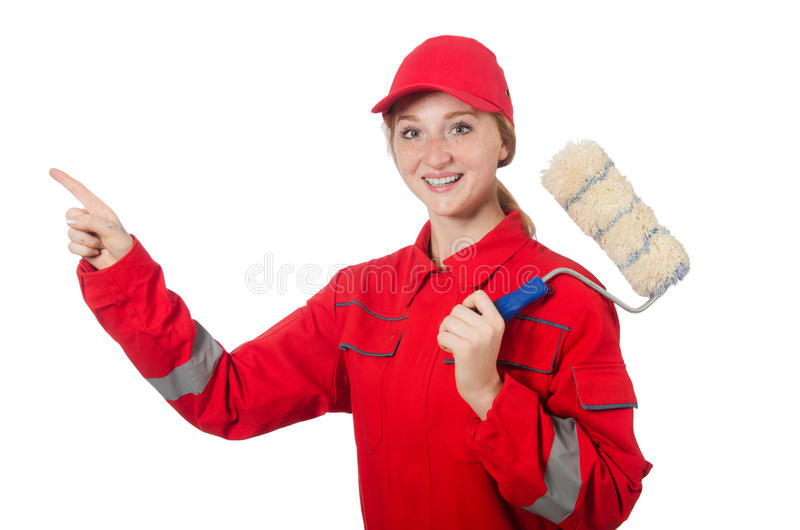 Woman painter in red coveralls isolated. On the white royalty free stock photos
