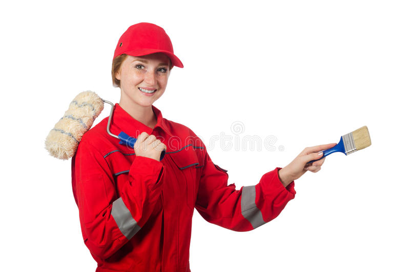 Woman painter in red coveralls. Isolated on the white royalty free stock photos