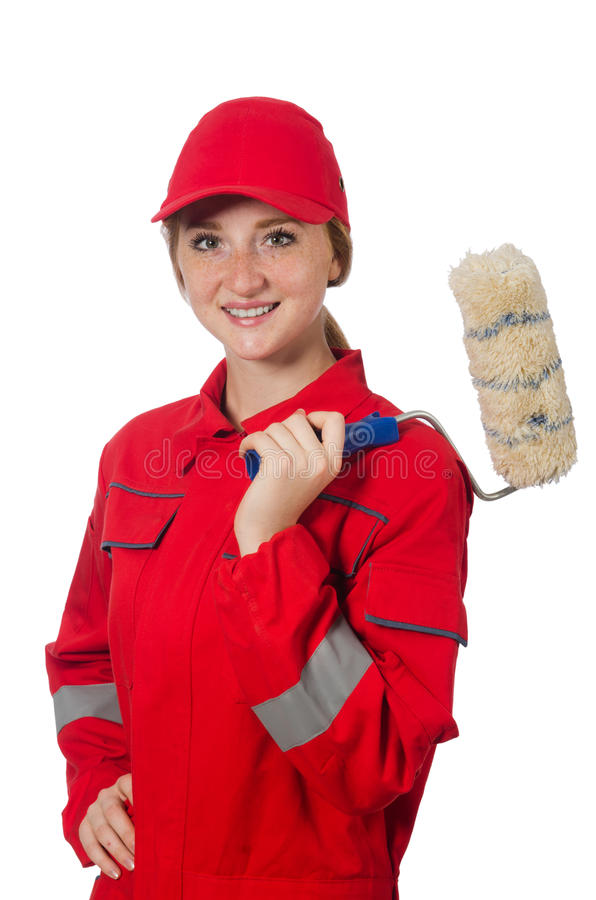 Woman painter in red coveralls isolated. On the white royalty free stock photo