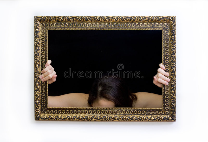 Woman in a painting frame royalty free stock photo