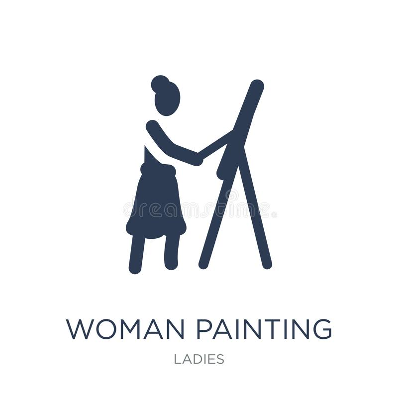 Woman Painting icon. Trendy flat vector Woman Painting icon on w vector illustration