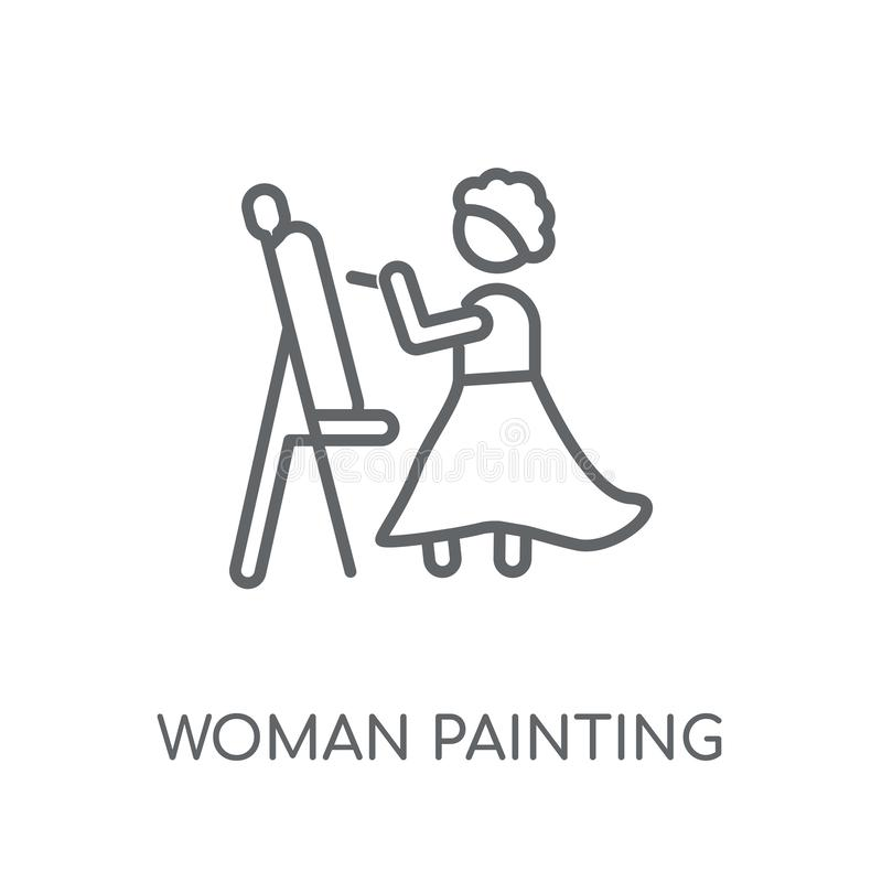 Woman Painting linear icon. Modern outline Woman Painting logo c stock illustration