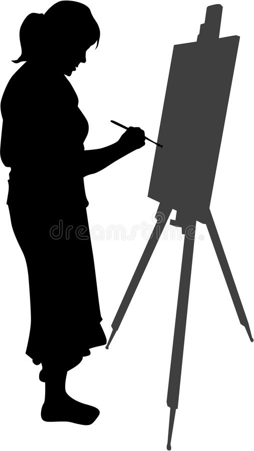 Woman painting a picture stock illustration