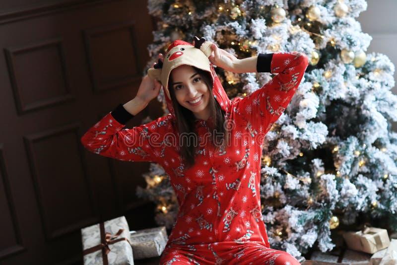 Woman in pajama stock image