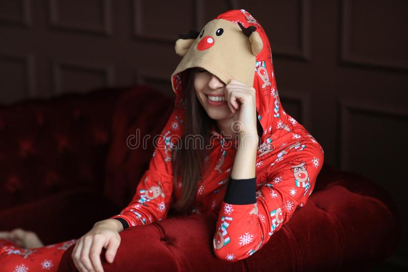 Woman in pajama royalty free stock images