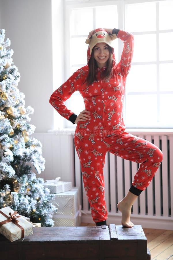 Woman in pajama royalty free stock image