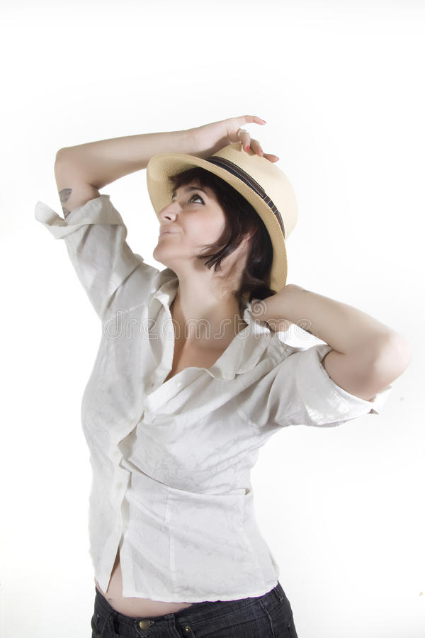 Woman with panama hat royalty free stock image
