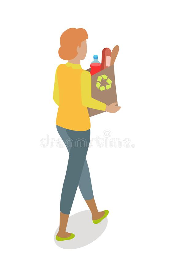 Woman with Paper Bag Buying Daily Products Vector stock illustration