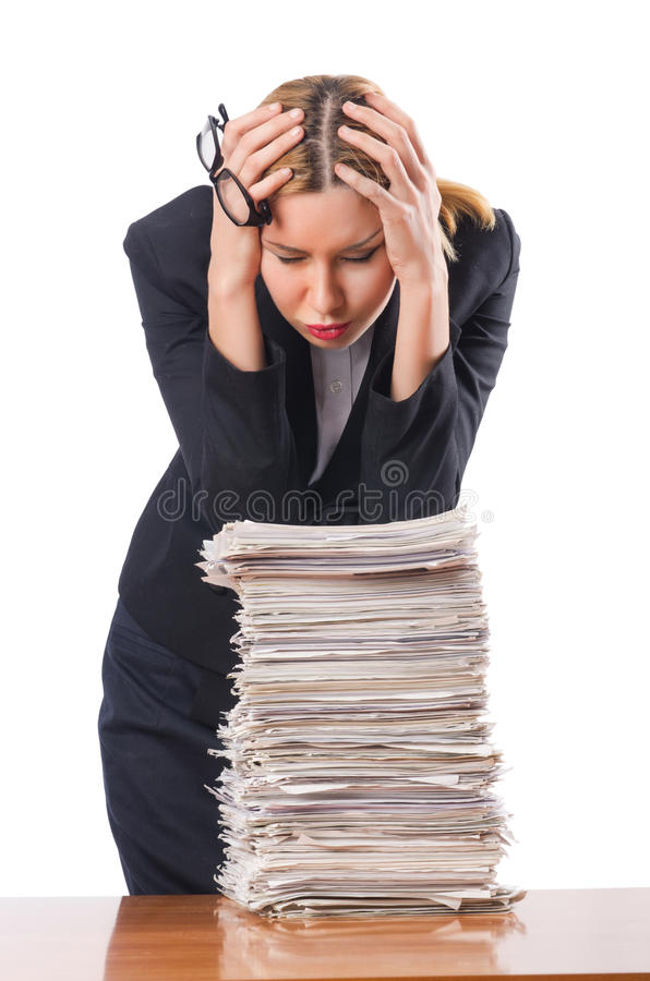 Woman with papers. Woman with pile of papers royalty free stock photos