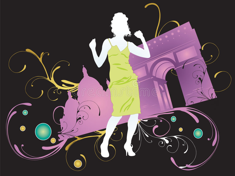 Download Woman in Paris stock vector. Image of graphic, pattern - 5669149
