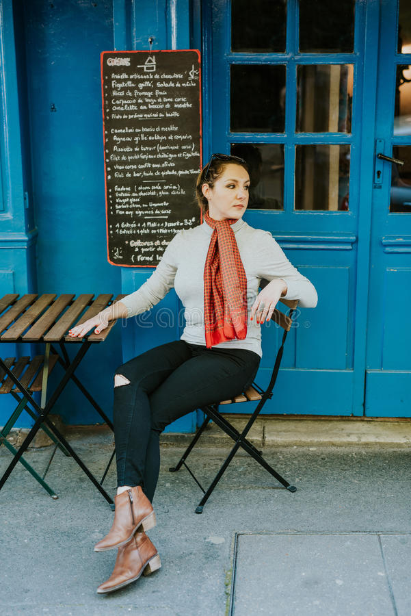 Woman in Paris stock photography