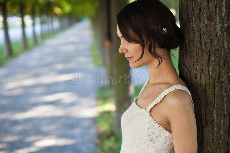 Woman in park stock images