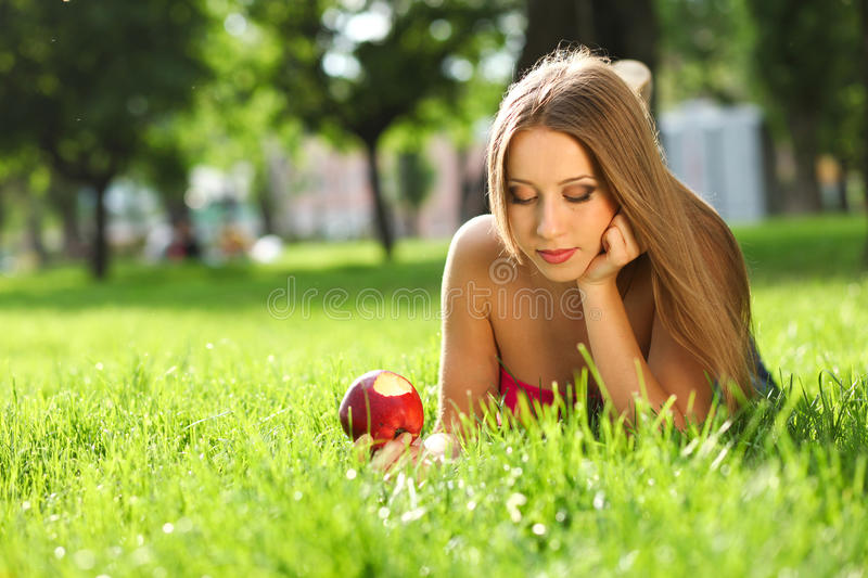 Download Woman In The Park With Book Stock Photo - Image: 21421514