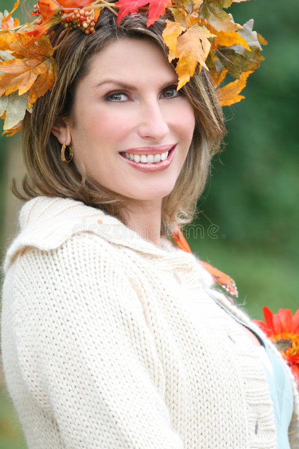 Woman In A Park, Fall, Seasonal Theme Stock Image