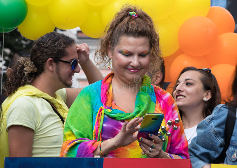 Woman participating in Prague Pride - a big gay & lesbian pride stock image