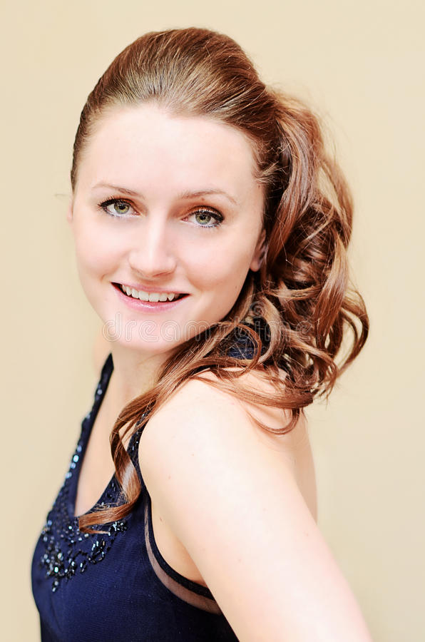 Woman with party hairstyle stock photo