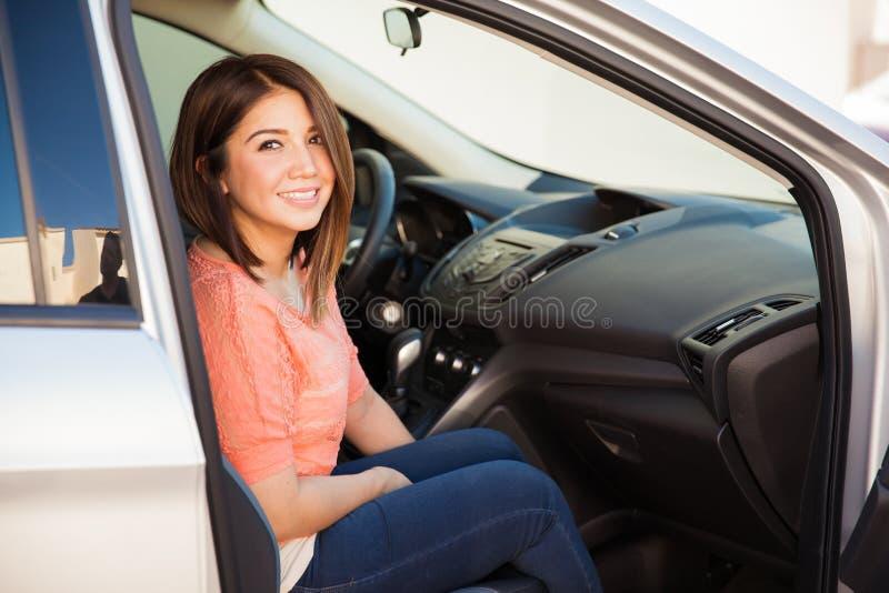 Woman on passenger seat royalty free stock image
