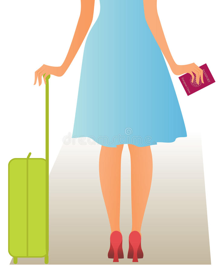 Woman with passport. Waiting for check-in stock illustration