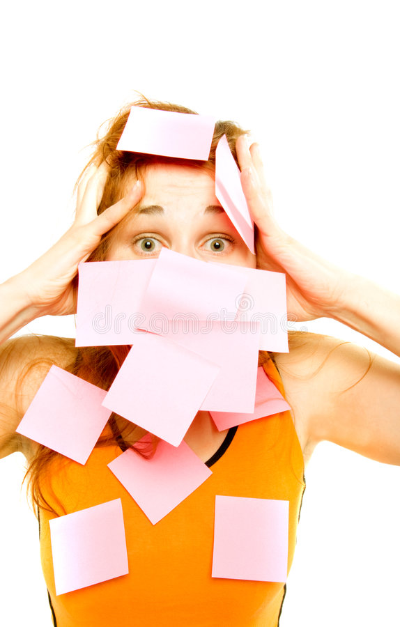 Woman pasted over paper stock photography
