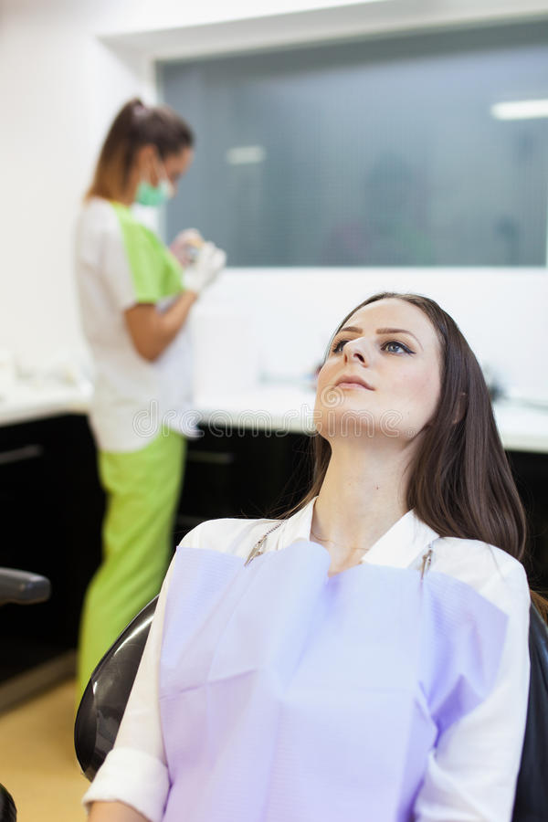 Download Woman Patient At The Dentist Waiting To Be Checked Up Stock Photo - Image: 39405320
