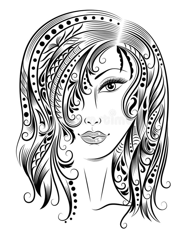 Download Woman stock vector. Illustration of curly, drawing, female - 34118418