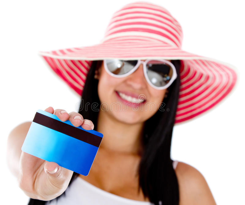 Woman paying holidays by card