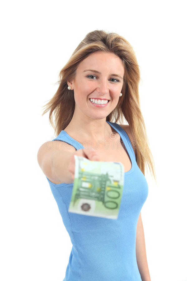 Woman Paying With A One Hundred Euros Banknote Stock Photos