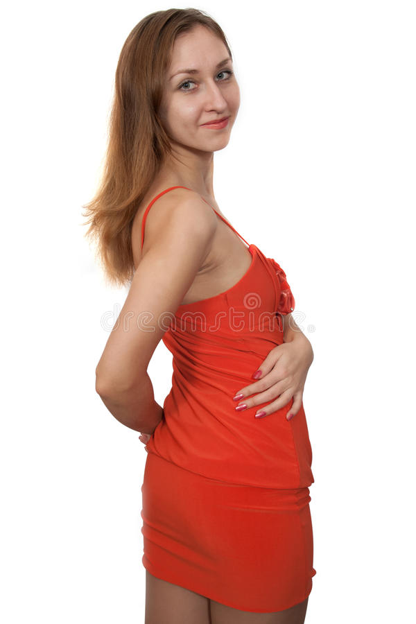 Woman in peach dress royalty free stock photography
