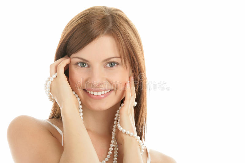Woman with pearls royalty free stock photo