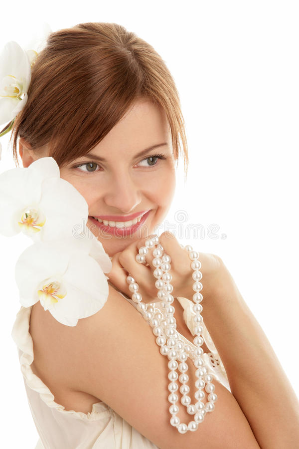 Woman with pearls royalty free stock image