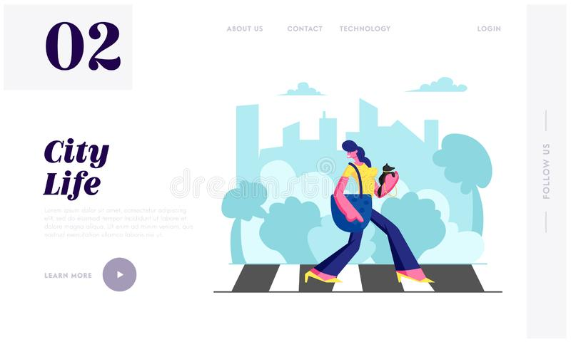 Woman Pedestrian with Dog in Hands Walking Crosswalk in Big Busy Metropolis, Girl City Dweller Lifestyle, Spare Time, Traffic. Website Landing Page, Web Page stock illustration