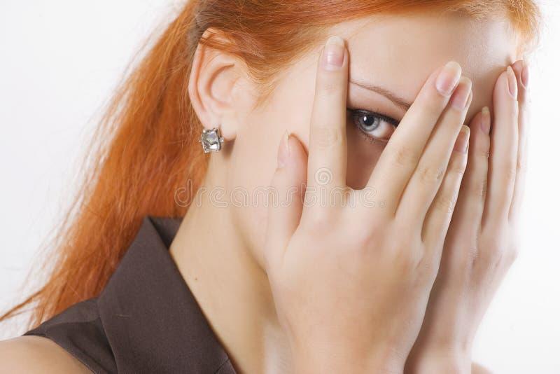 Download Woman Peeking Through Fingers Stock Image - Image: 12524963